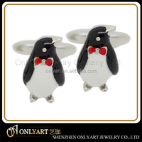 Brass lovely creative 3D penguin cufflink with shiny polished and black enamel custom welcome