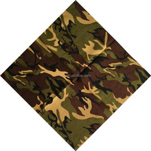 2017 factory hot selling custom made soft 100% cotton bandanas camoflage print cotton bandana