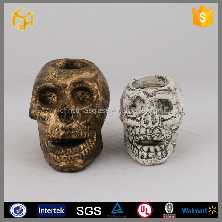 2016 Decorative glass skull candle holder