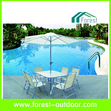 outdoor furniture steel table and chair with umbrella