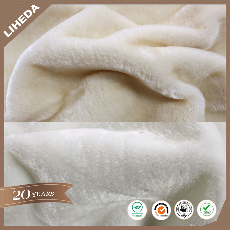 Ugg boots fabric supplier polyester knit faux fur soft rabbit fabric for ugg boot lining