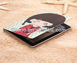 Newest design cartoon holder pu leather cases for ipad mini
