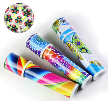 2017 trending product best kids gift paper material outdoor toy promotional telescope lens kaleidoscope with led light for sale