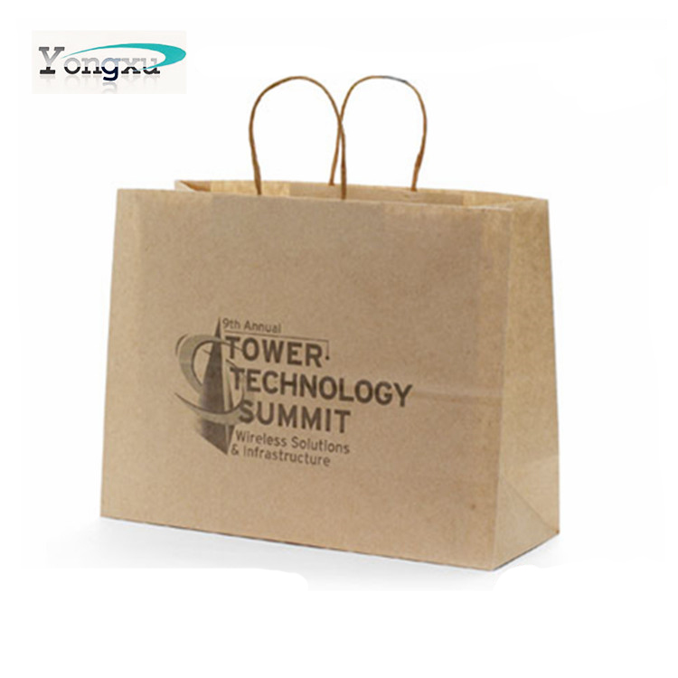 promotional custom logo handle paper shopping bag kraft paper