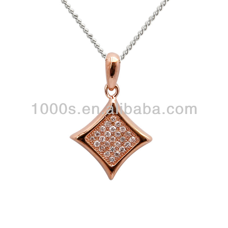 New gilded crystal silver necklace /rose gold plating