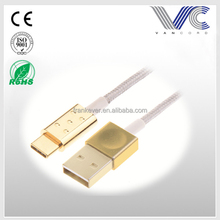 All-metal Gold/Nickel Plated Type-C to USB Male Cable with Rose-gold Zinc Alloy Shell Nylon Woven Wires