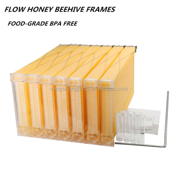 7Pcs Honey Flow Frames with 7 Harvest Tubes and a flow key