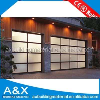 Aluminum sectional insulated transparent glass garage door for Sectional glass garage door