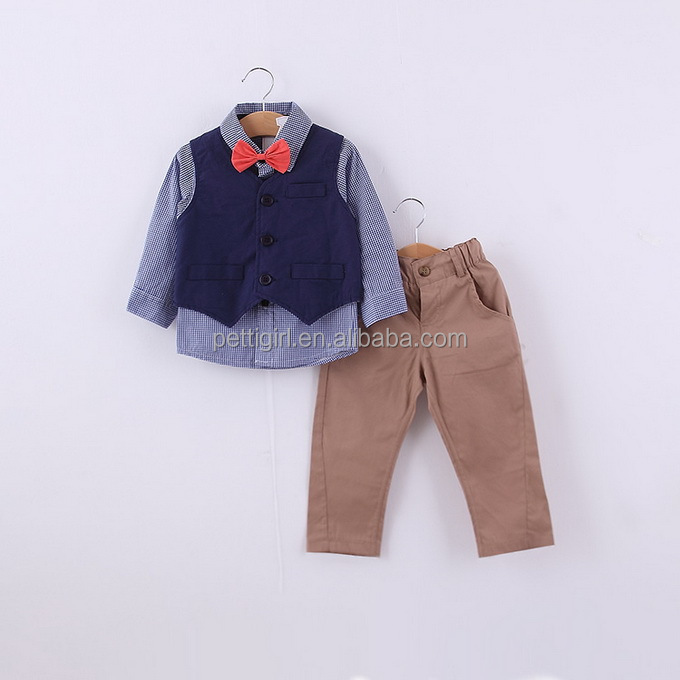Wholesale baby clothes price 4 pieces suit with Denim shirt Black boy clothes kids Toddlering 1 year clothing sets