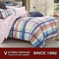 blue plaid duvet quilt cover sets 100% cotton bedding with dots sheet pillowcase bed in a bag NEW