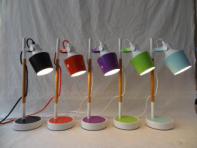 Colorful metal lampshade and base modern table lamp , timber or wooden lamp post