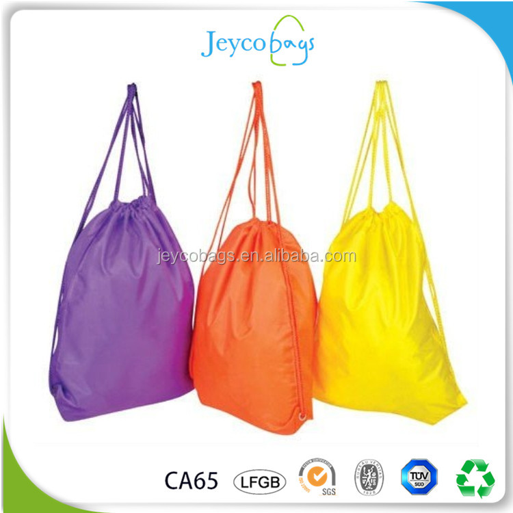 JEYCO BAGS Wholesale custom printed easy dry nylon drawstring sing bag for beach fun