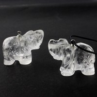 carved natural rock crystal elephant pendant 1.0 inch gemstone pendant beads elephant