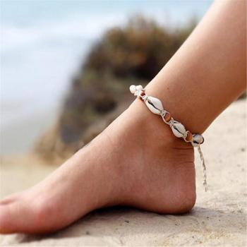 Vintage beach shell anklet handmade woven wooden beads anklet