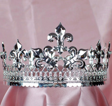 "Men's Full Circle King Crowns Imperial Medieval Tiaras Fleur De Lis 3.5"" Pageant"