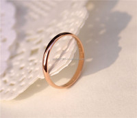 Simple Style Fashion Women Small Smooth Rose Gold Titanium Steel Ring