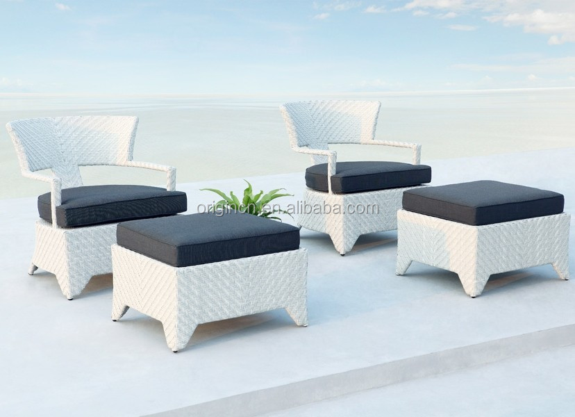 Contemporary stunning white wicker outdoor relaxing furniture terrace lounge chair and wicker footstool