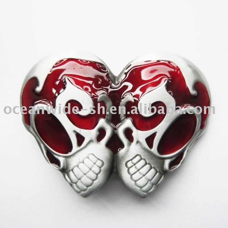 Belt Buckle (Red Emo Tattoo Gothic Double Skulls)
