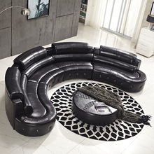 black top grain <strong>modern</strong> ktv round corner leather sofa SL0019