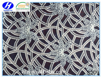 hot sell latest new style burn-out fabric 100%poly battenburg lace fabric for clothes