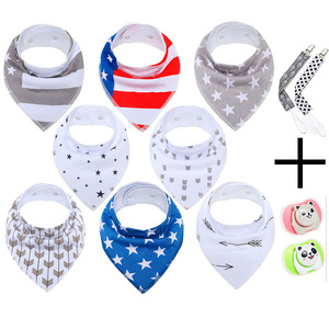 Anti-Bacterial soft printed baby bandana drool bibs with snaps