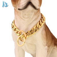 Gold Cuban Link Chains Strong Stainless Steel Cuban Link Dog Chain