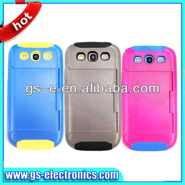 Hybrid silicon pc mobile phone credit card holder case for samsung galaxy s3/s4 note 2/note 3