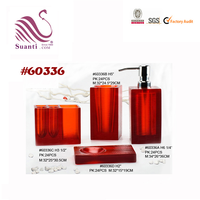 Hot Selling Clear Orange Color Resin Bathroom Set For Hotel and Home