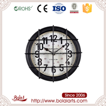 BSCI alibaba hot selling iron and paper with glass circular mesh quartz rhythm clock for living room
