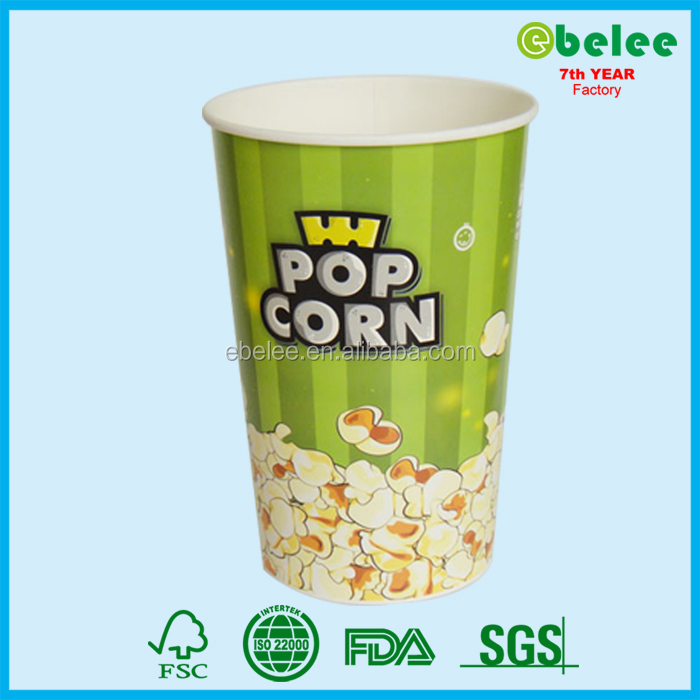 24oz take out disposable paper popcorn container