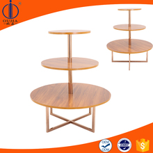 retail store 3 tier wooden round display table/commercial display table