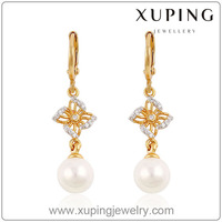 91410-xuping imitation jewelry gold and alloy pearl earrings
