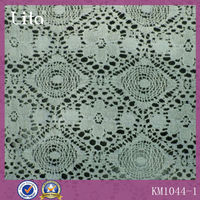 White Color and Nylon / Cotton,lace net fabric Material lace fabric rigid raschel lace fabric