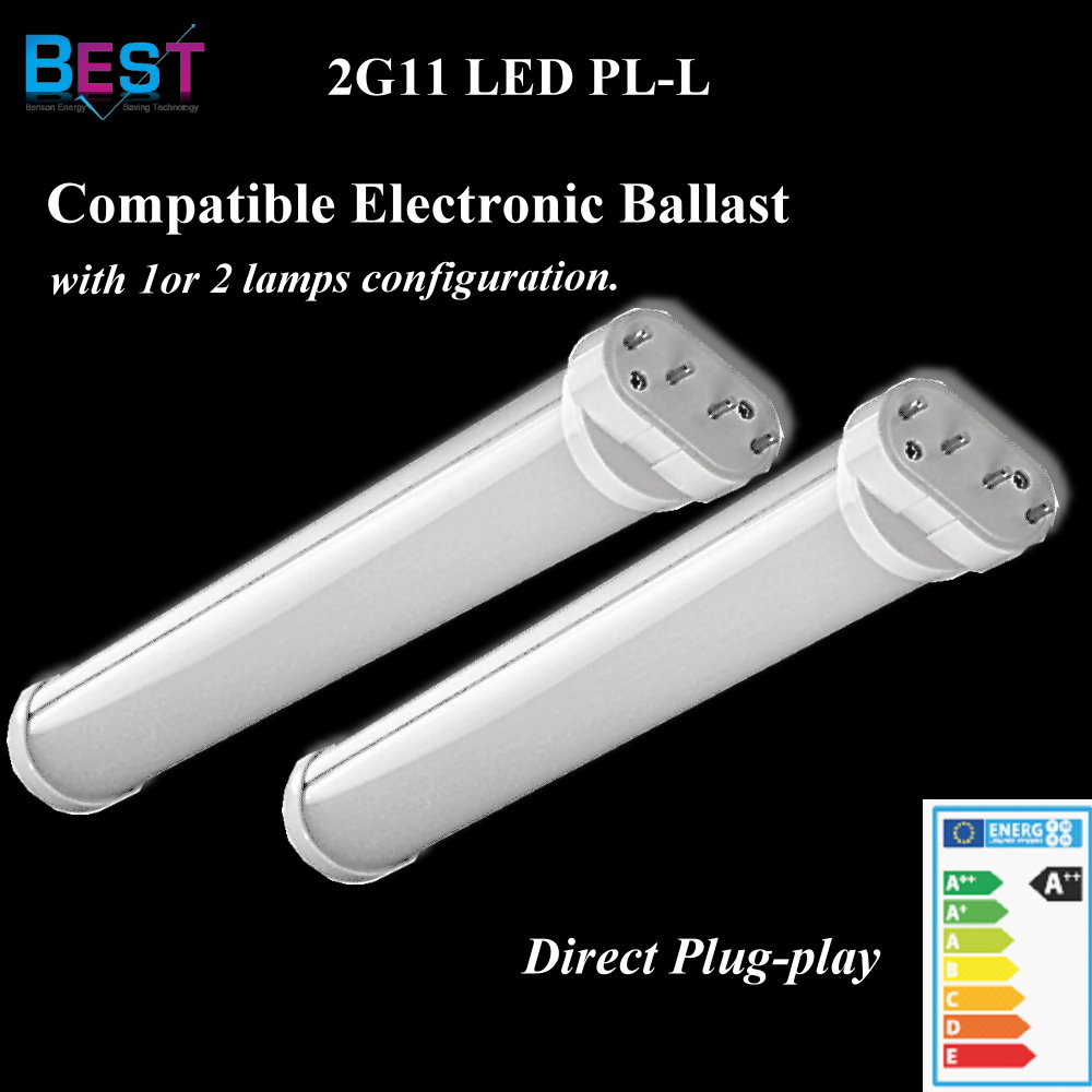 BEST ECG ballast compatible LED 2G11 PL retrofit bulb; direct replacement CFL plug in downlight