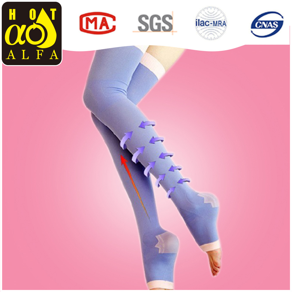 wholesale custom ladies colorful sleeping thigh high compression socks W36