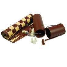 Hot sale deluxe roll up backgammon chess set in pu leather