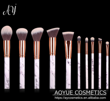 Best price 10 pcs marble makeup brush set kabuki make up brushes makeup brush set free samples