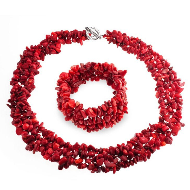 Fashion Jewelry Multi Strands Red Coral Chips Cluster Necklace and Bracelet Set