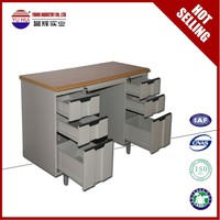 metal material office desk with locking drawers / wooden top office table