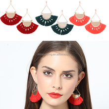European Antique Jewelry Hollow Alloy Long Tassel fabric Earring with Fashion Drop