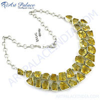 Fashion Yellow Citrine Multi Stones Silver Chain Necklace Jewelry For Women's, 925 Sterling Silver Jewelry