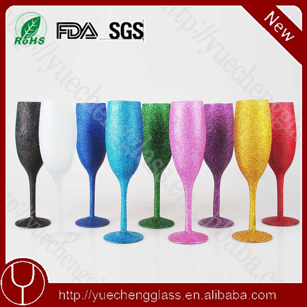 220ml set of 6 colored champagne flute wholesale glass goblet candle holder