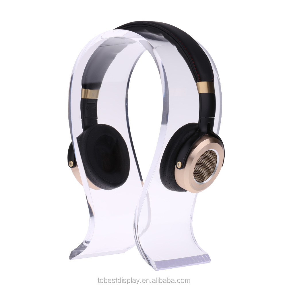 U shaped beautiful clear acrylic headphone stand,acrylic headphone display manufacturer
