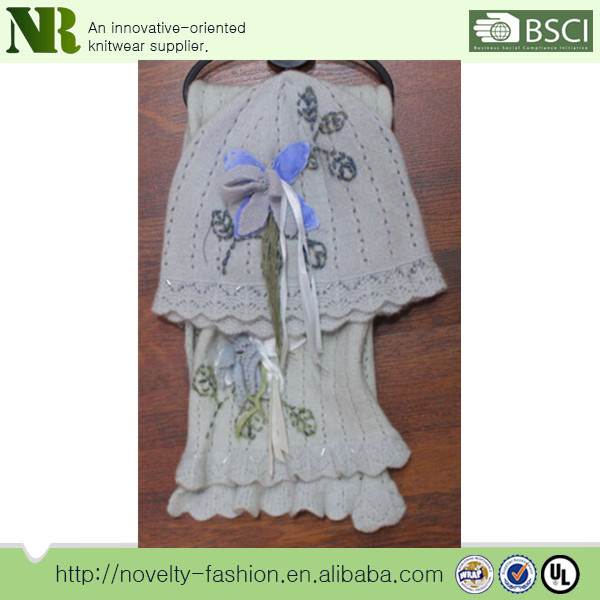 White knitted hat gloves and scarf set with flower