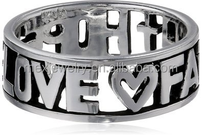 "Sterling Silver ""Hope Love Faith"" Hollow Cut Outs Ring With Love Shape"