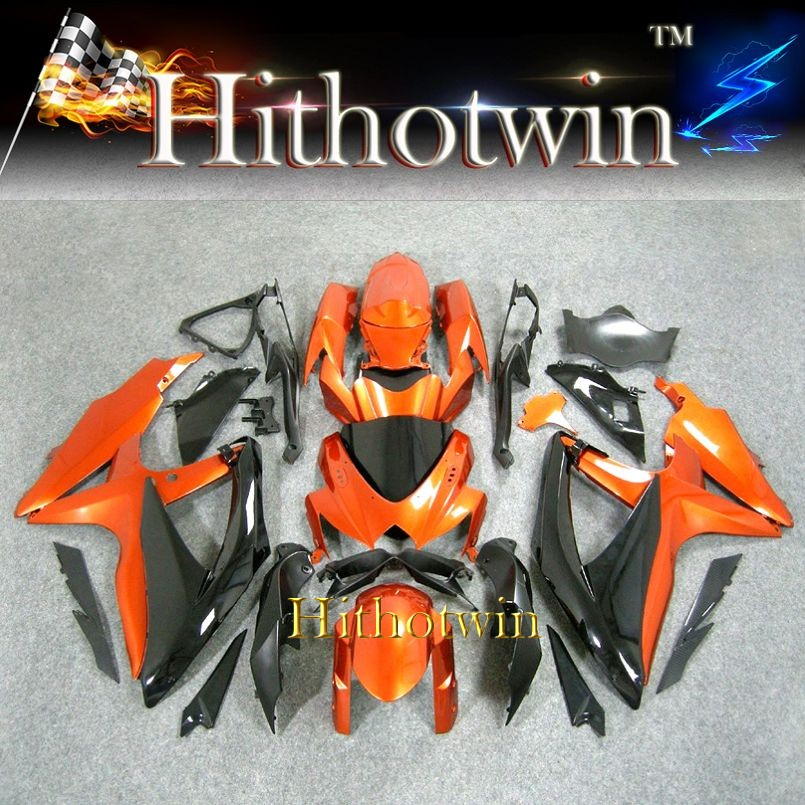 2008 2009 2010 K8 ABS Fairing For Suzuki GSXR 600 orange black Bodywork Plastic Kit Fit GSX R600 GSX R750 2008 2010