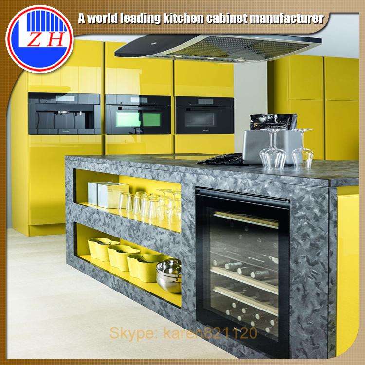 Bright Yellow High Gloss Magic Corner Kitchen Cabinet