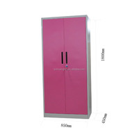 Pink girls 2 Drawer Stainless Steel Cupboard for Clothes