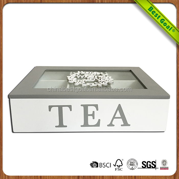 Custom lacquered 6 compartments Chinese gift wooden tea packaging box with glass top