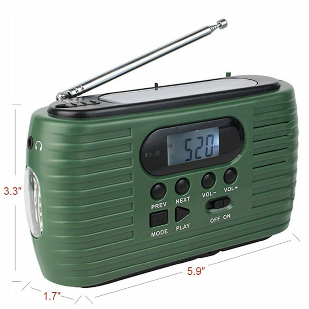 Hand Crank Rechargeable am fm solar lcd portable radio with usb sd